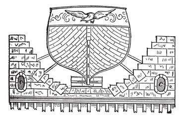 Floating Basin vintage engraving