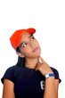 Latin teen hispanic pensive girl orange cap
