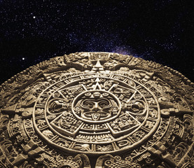 Aztec calendar stone carving in space