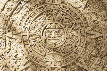 Close up of Aztec calendar stone carving