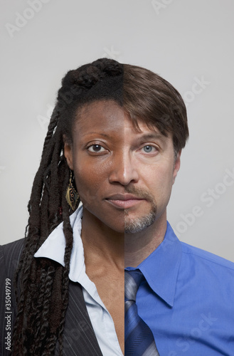 Split image of African American businesswoman and Caucasian businessman