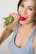 Beautiful Brunette Eats Radish