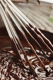 Whisk in bowl of melted chocolate