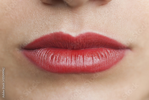 Close up of Caucasian woman's mouth