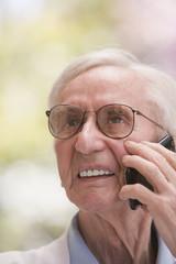 Senior Chilean man talking on cell phone