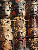 Mexican wooden mask handcrafted wood faces poster