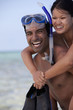 Happy couple on beach with snorkel gear