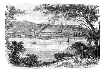 Belgrade, in Serbia vintage engraving