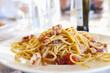 Plate of calamari spaghetti