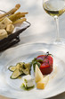 Italian cheese plate with tomato aspic