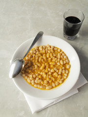 Bowl of Tuscan beans with tomato sauce
