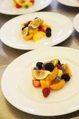 Plate of appetizing fruit salad