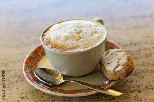 Biscotti and a cup of cappuccino