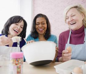 Friends baking together