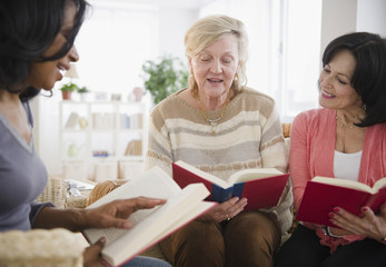 Women enjoying book club meeting