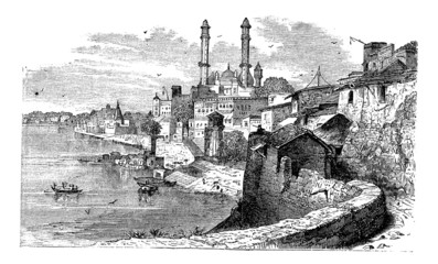 Varanasi or Banares or Banaras, in Uttar Pradesh, India, vintage