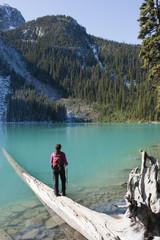 Hispanic hiker standing on log near remote lake