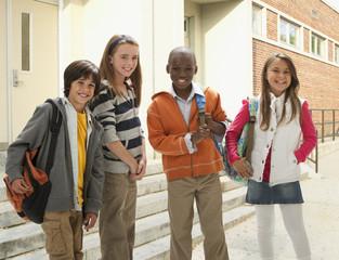 School children standing together