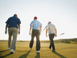 Golfers walking together on golf course