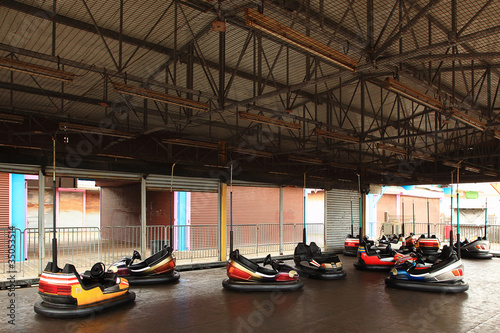 Empty bumper cars in amusement park