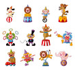 cartoon happy circus show icons collection.