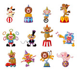 Fototapety cartoon happy circus show icons collection.