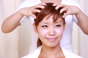 japanese woman getting a massage