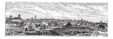 Bucharest, city, Romania, vintage engraving.