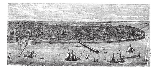 Buenos Aires, city, Argentina, vintage engraving.