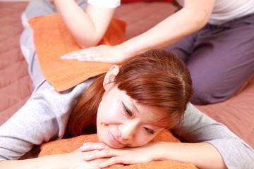 japanese woman getting Thai massage