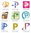 Ensemble d'Icones Lettre P pour Design Logos