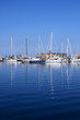 Boats in blue marina Mediterranean sea Denia