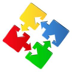 Vector puzzle pieces with arrows
