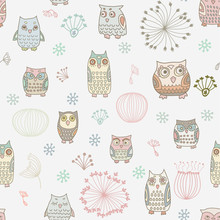 seamless  with colorful owls
