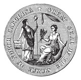 Great seal or hallmark of North Carolina vintage engraving