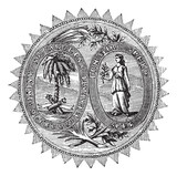 Great seal or hallmark of South Carolina vintage engraving poster