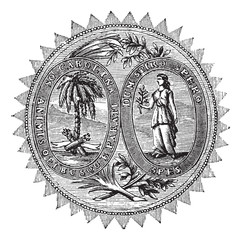 Great seal or hallmark of South Carolina vintage engraving