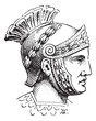 Roman Centurion brush helmet or galea vintage illustration