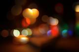 night city bokeh lights background - 35057991