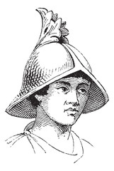 Carlovingian helmet of galea vintage engraving