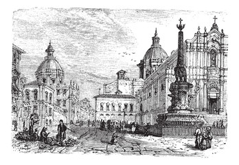 The Elephant fountain,Catania vintage engraving