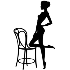 Bella Ragazza con Sedia-Beautiful Girl's Silhouette with Chair