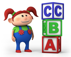 school girl with ABC blocks