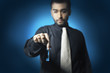business man hold the key of success