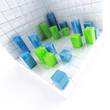 Abstract cubes of blue and green as technological background
