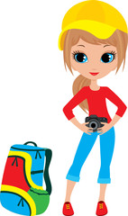 Pretty girl with the camera. vector