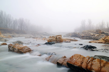 fog in winter on the river