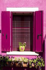Finestra con vasi fioriti a Burano