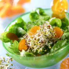 Salat in grünem Schälchen