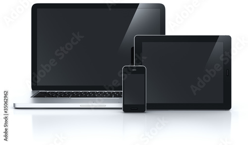 Laptop tablet and smartphone